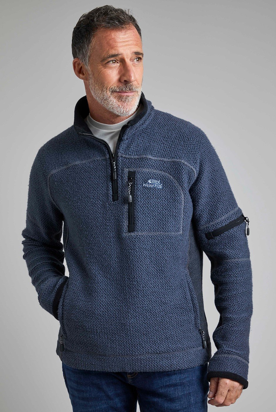 Caddis 1/4 Zip Eco Macaroni Navy