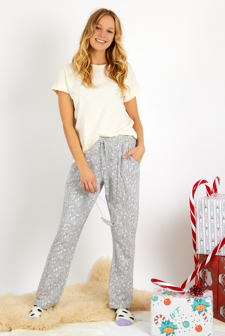 Tulla Lounge Trouser Set & Eye Mask Pearl Grey