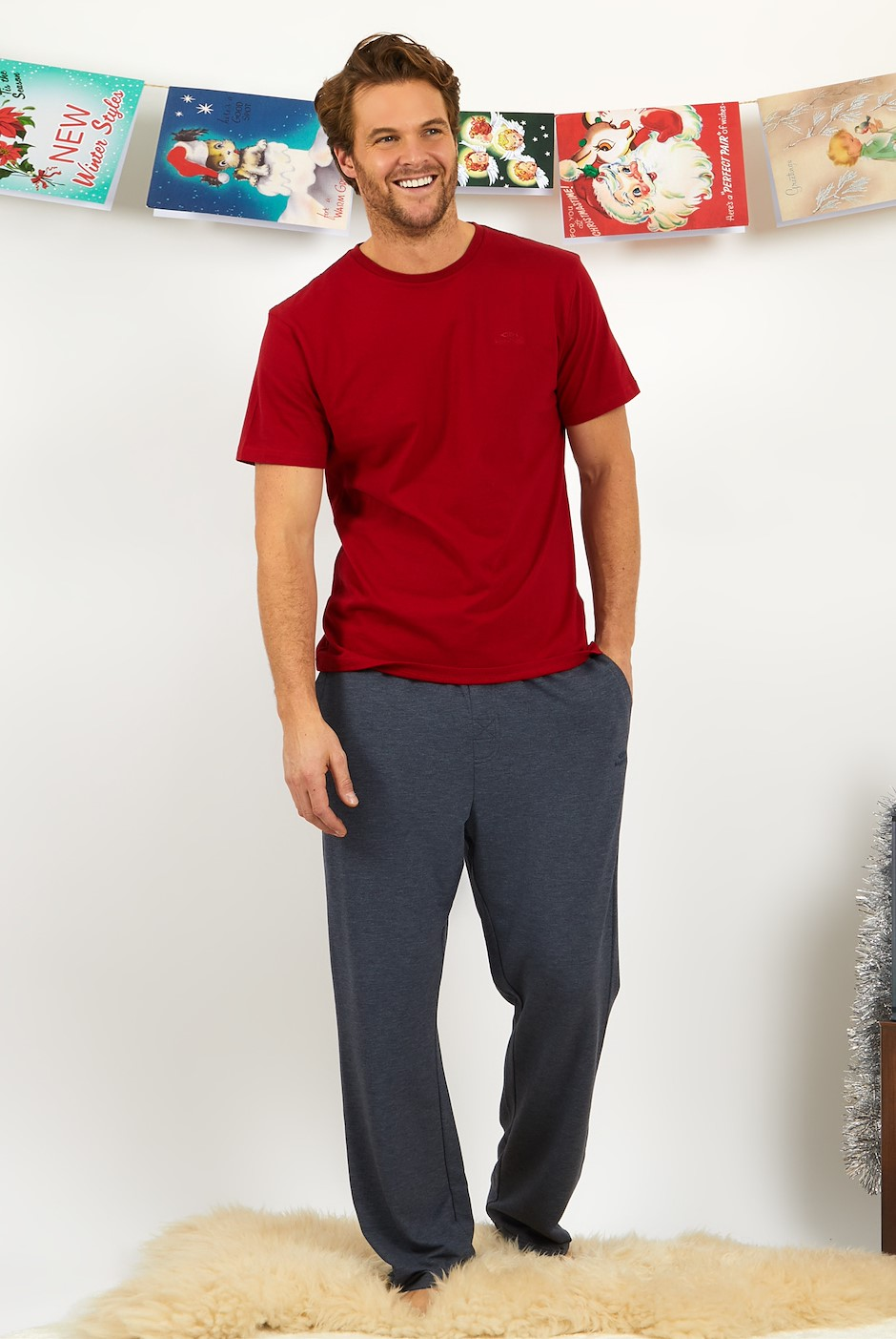 Quin Jersey Lounge Trouser Set  Chilli Red