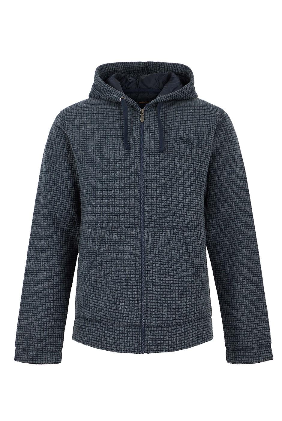 Wilton Full Zip Lined Grid Fleece Hoodie Navy