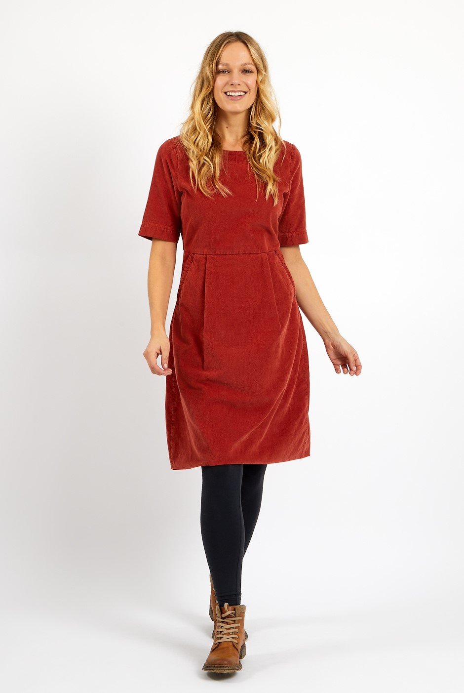 Domino Cord Dress Chilli Red