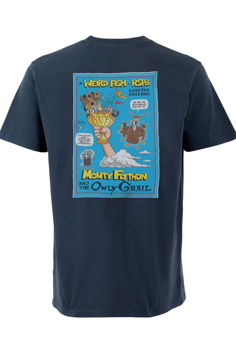 Monty Flython Organic Cotton RSPB Artist T-Shirt Navy