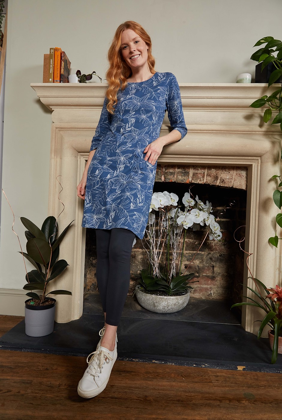 Starshine Organic Cotton Printed Jersey Dress Ensign Blue