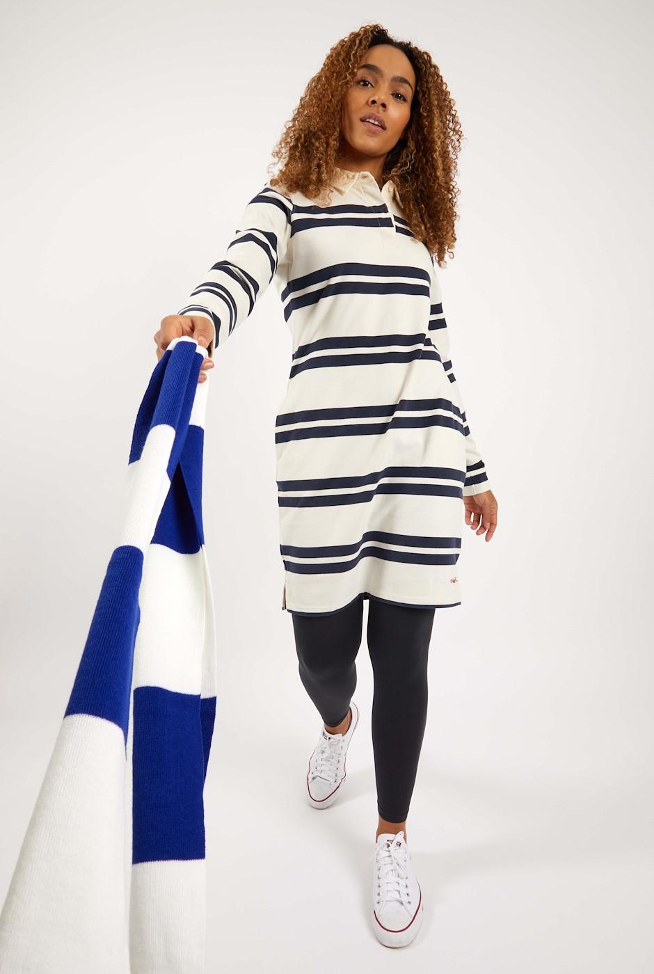 Ava Organic Cotton Striped Rugby Dress Light Cream