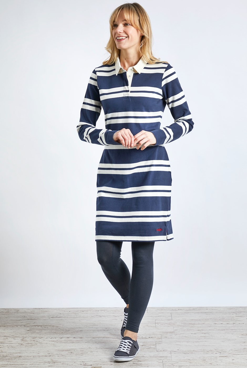 Ava Organic Cotton Stripe Rugby Dress Navy