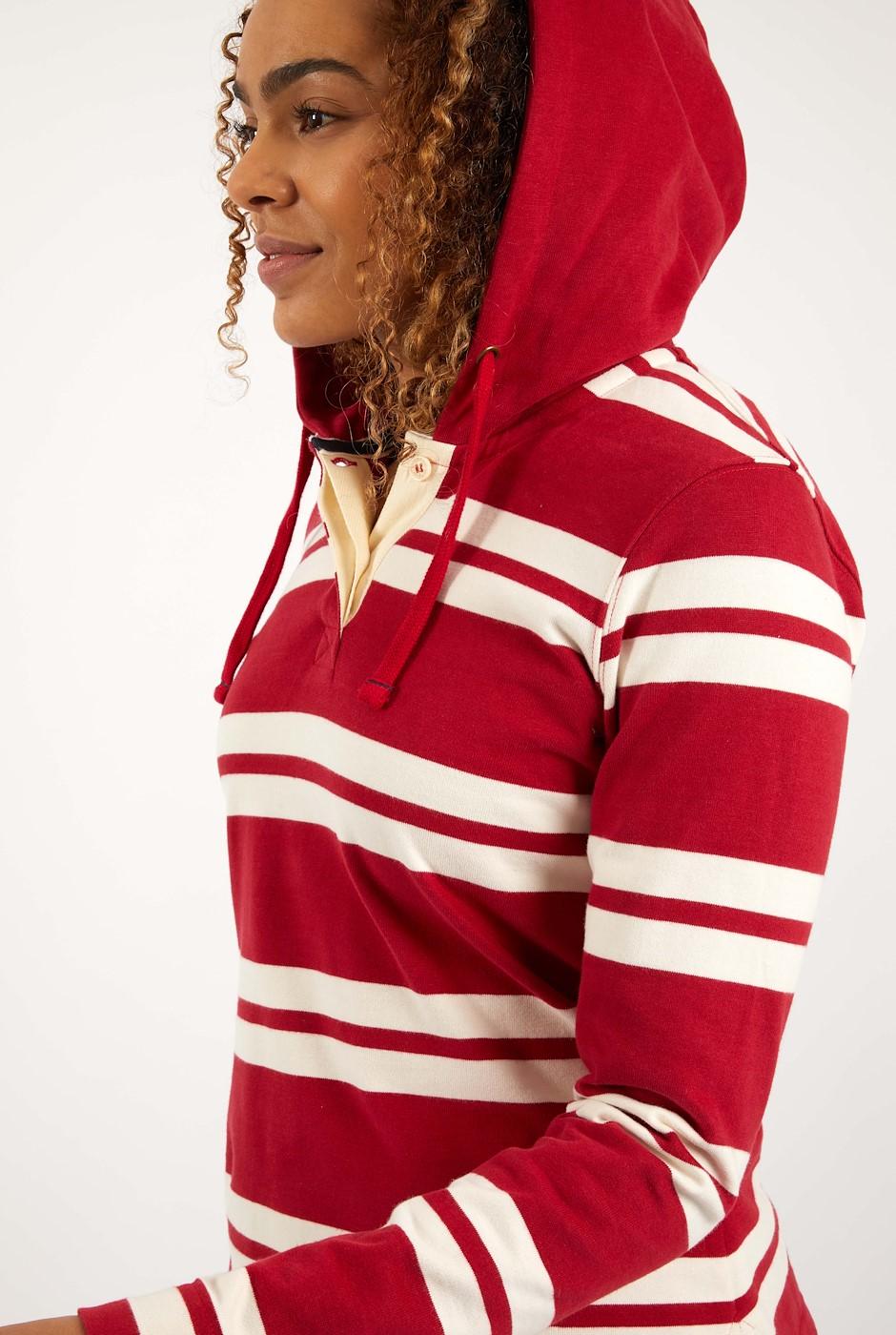 Merida Organic Cotton Stripe Hoodie Chilli Red