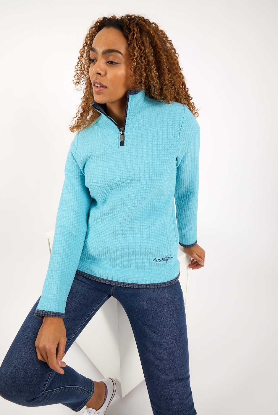 Beyonce 1/4 Zip Grid Fleece Sky Blue