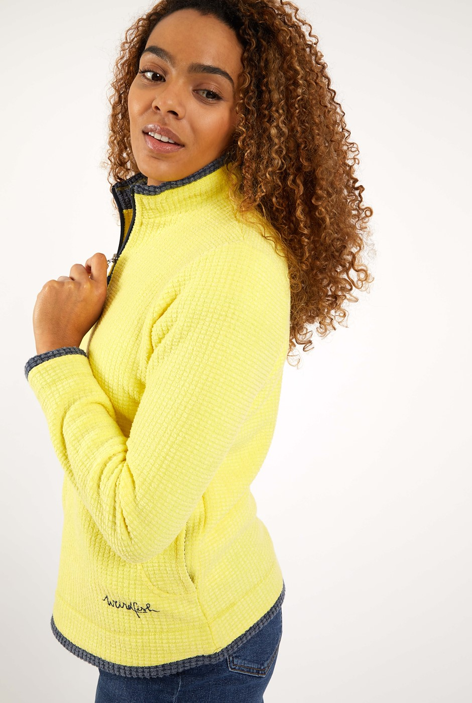 Beyonce 1/4 Zip Grid Fleece Lemon