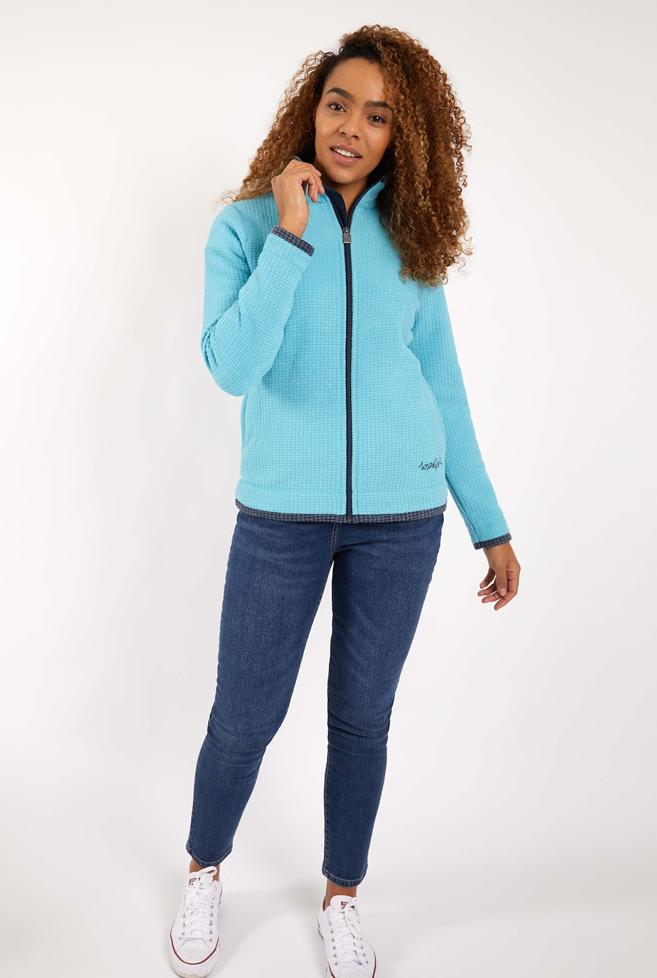 Ariana Full Zip Grid Fleece Sky Blue