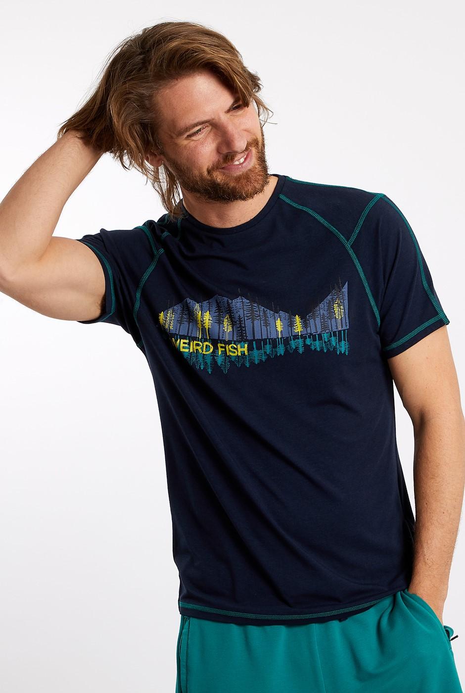 Alastor Printed Bamboo T-Shirt Navy