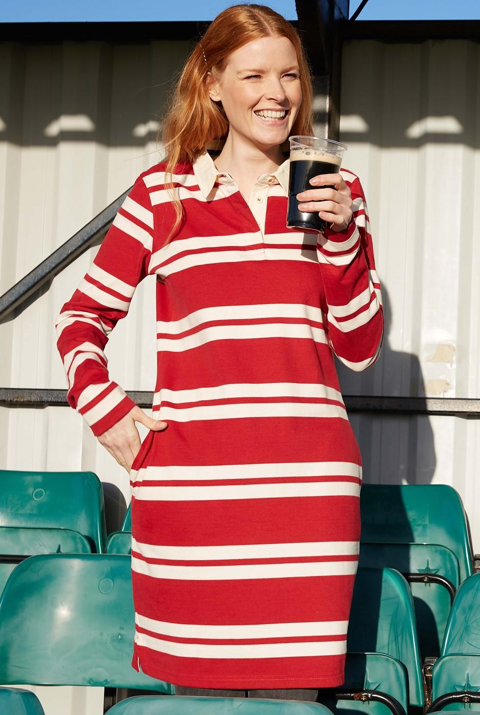 Ava Organic Cotton Stripe Rugby Dress Chilli Red