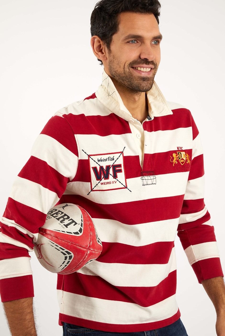 Leigh Organic Cotton Striped Rugby Shirt Chilli Pepper
