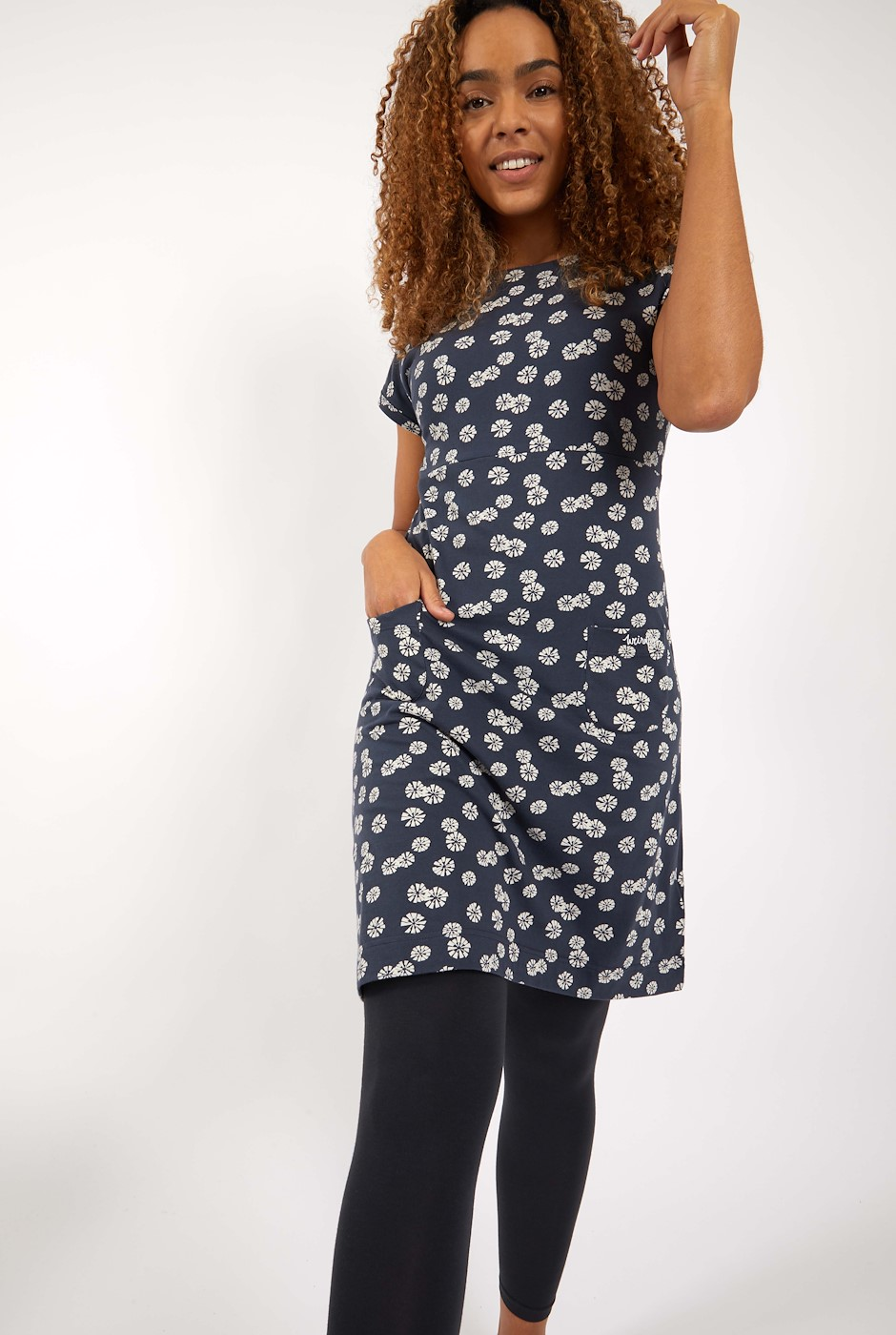 Tallahassee Organic Cotton Printed Jersey Dress Navy