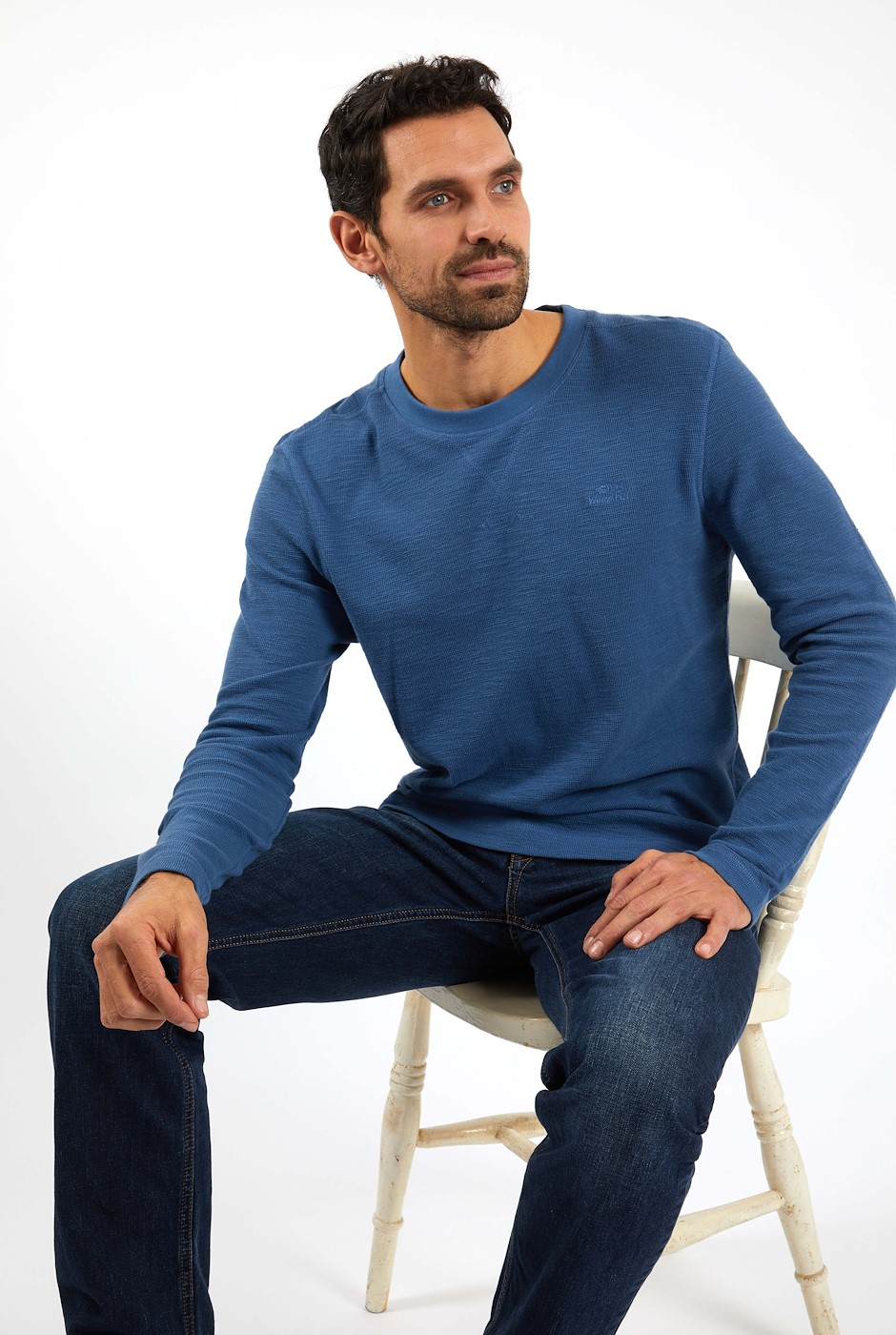 Reuben Organic Cotton Waffle T-Shirt Ensign Blue