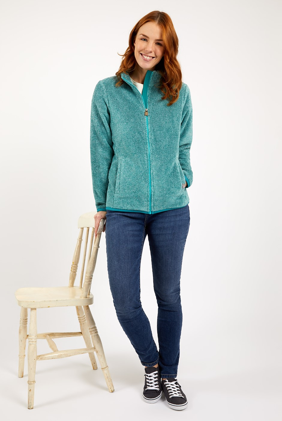 Hulla Full Zip Melange Coral Fleece Deep Teal