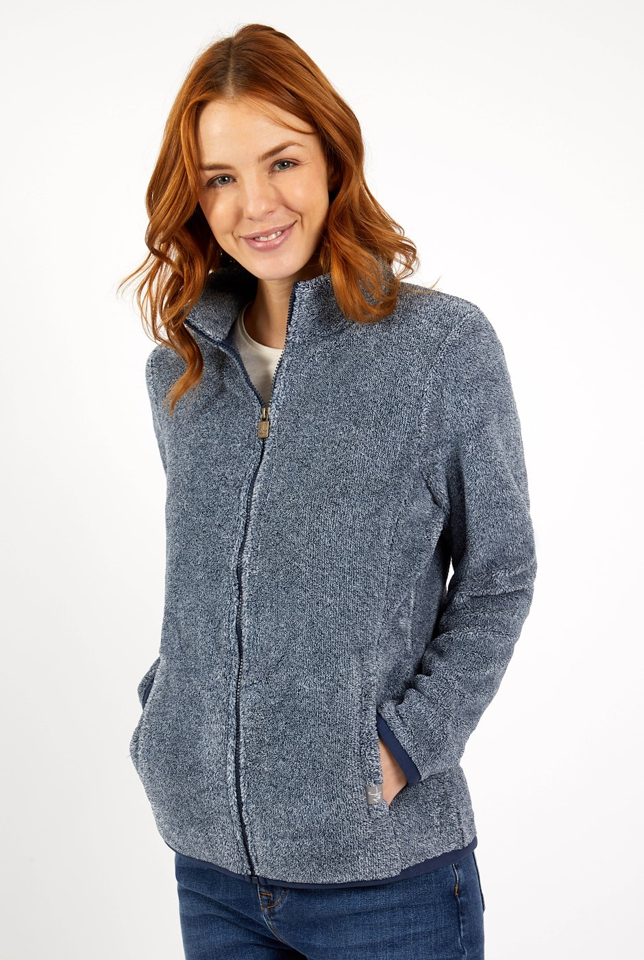 Hulla Full Zip Melange Coral Fleece Navy