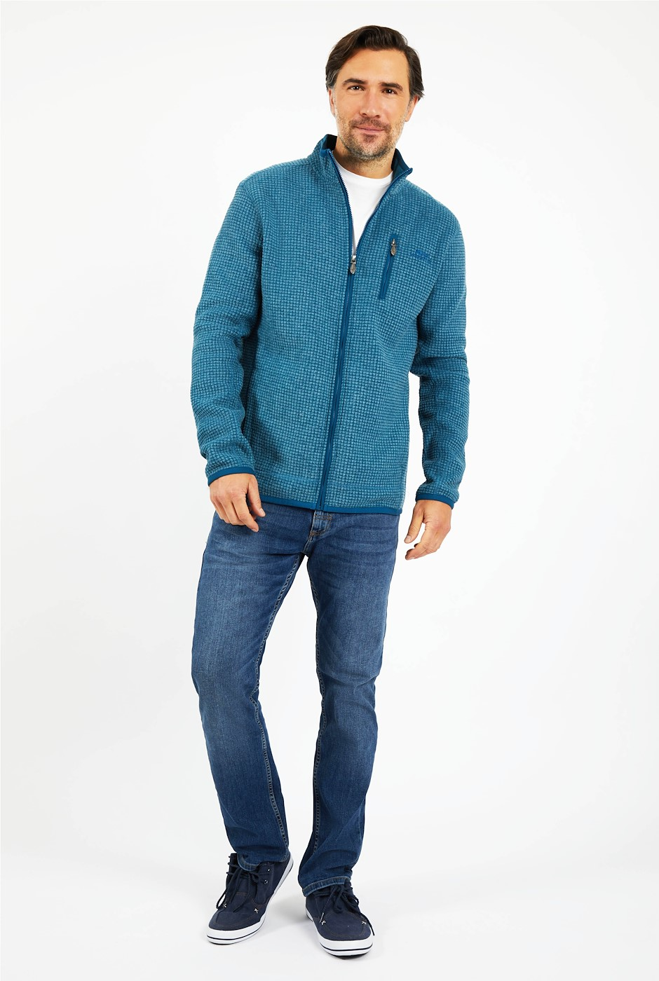 Rossten Full Zip Grid Fleece Deep Sea Blue
