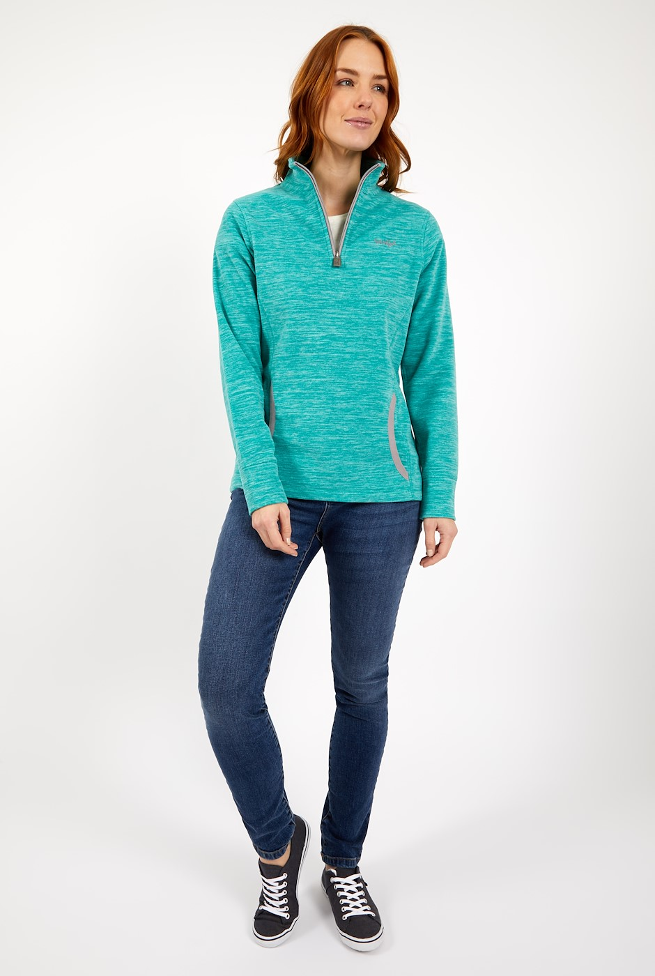 Nancy 1/4 Zip Space Dyed Fleece Light Teal