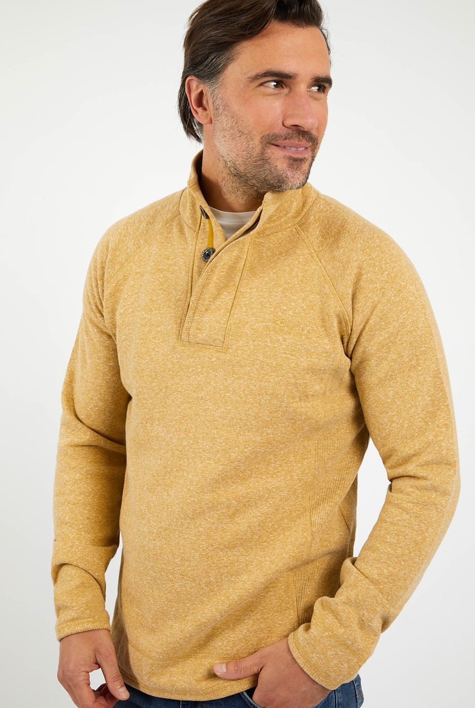 Landeron Snow Marl Button Neck Sweat Mustard