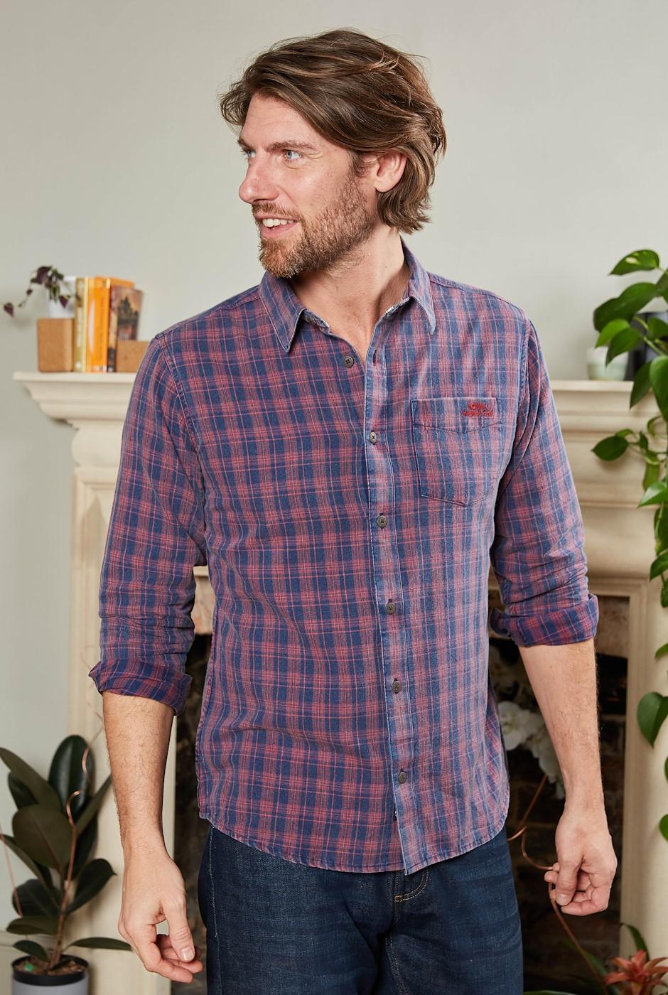 Noland Long Sleeve Vintage Check Shirt Chilli Pepper