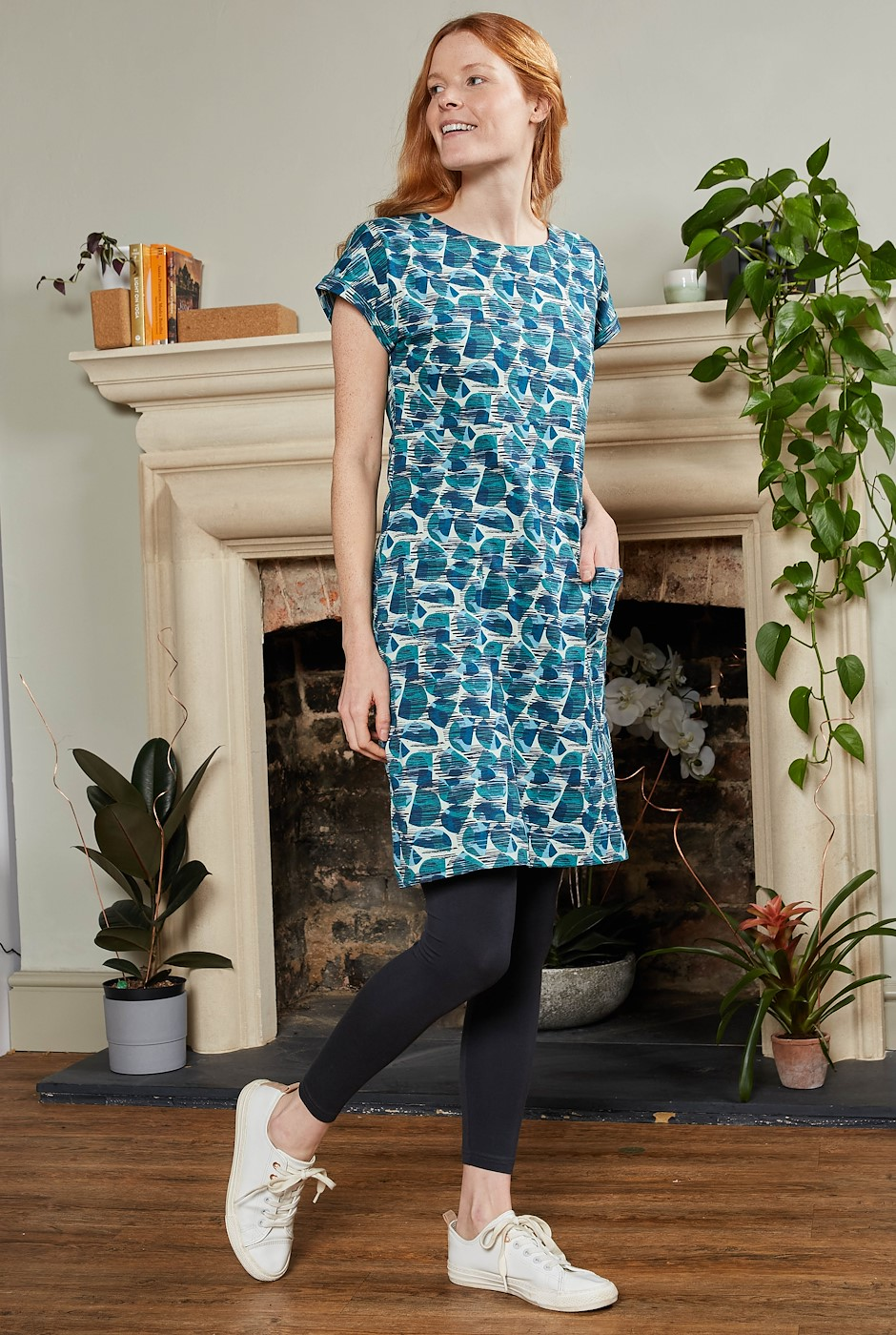 Tallahassee Organic Cotton Printed Jersey Dress Bottle Green
