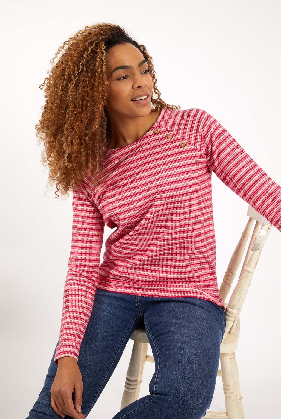 Ajuda Organic Cotton Crew Neck Sweat Dark Pink