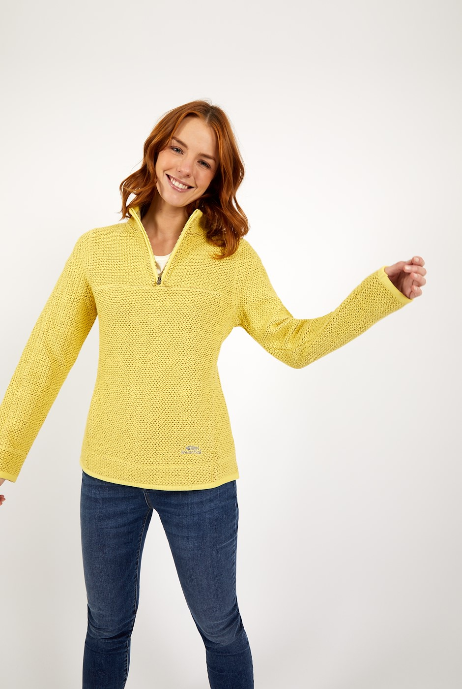 Aria 1/4 Zip Eco Macaroni Lemon