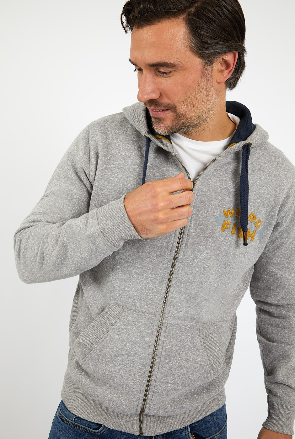 Stans Branded Snow Marl Full Zip Hoodie Grey