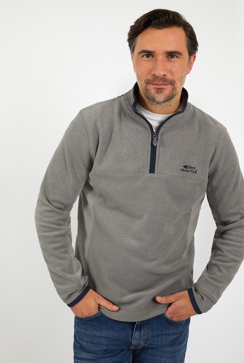Marcel 1/4 Zip Birdseye Fleece Frost Grey
