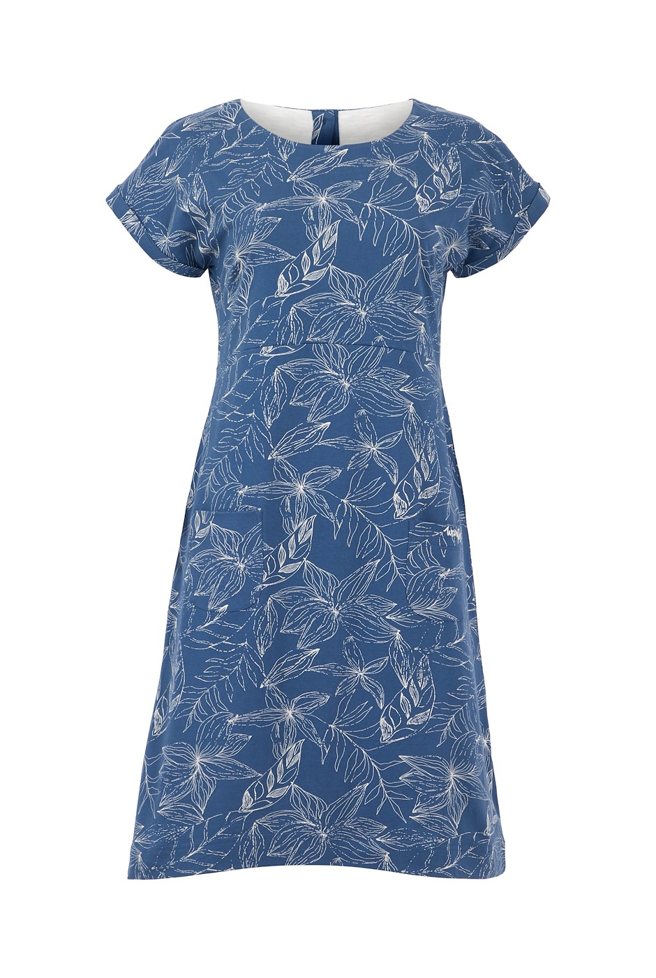 Tallahassee Organic Cotton Printed Jersey Dress Ensign Blue