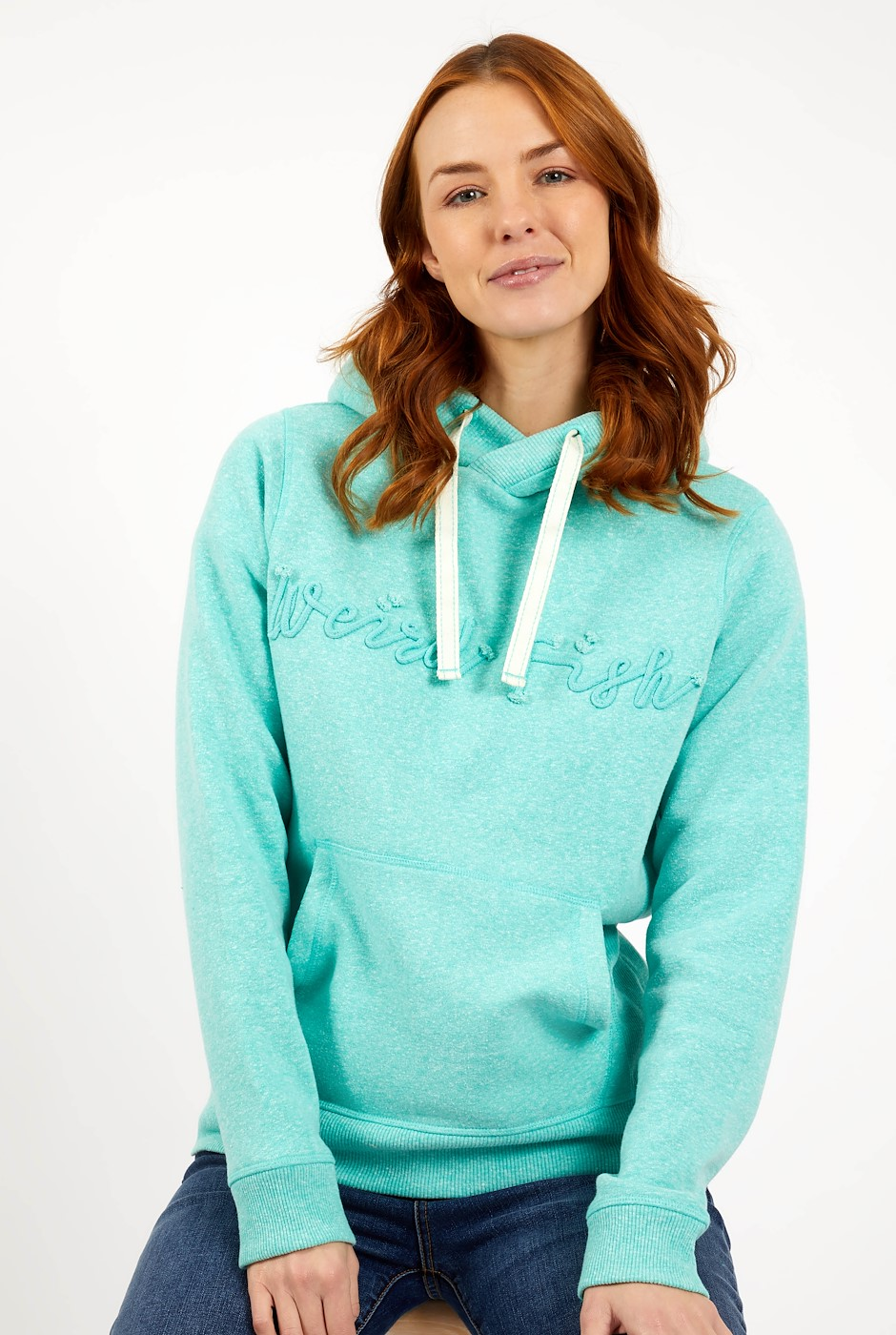 Bodhi Branded Snow Marl Hoodie Light Teal