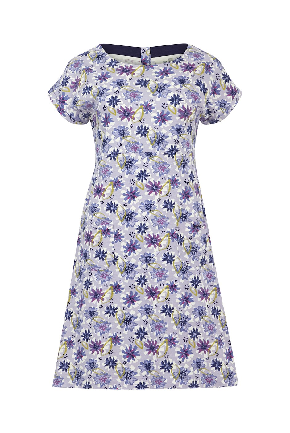 Tallahassee Organic Cotton Printed Jersey Dress Lilac Hint