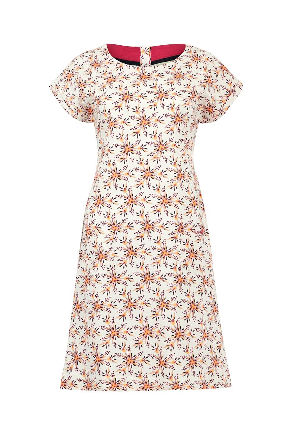 Tallahassee Organic Cotton Printed Jersey Dress Light Cream