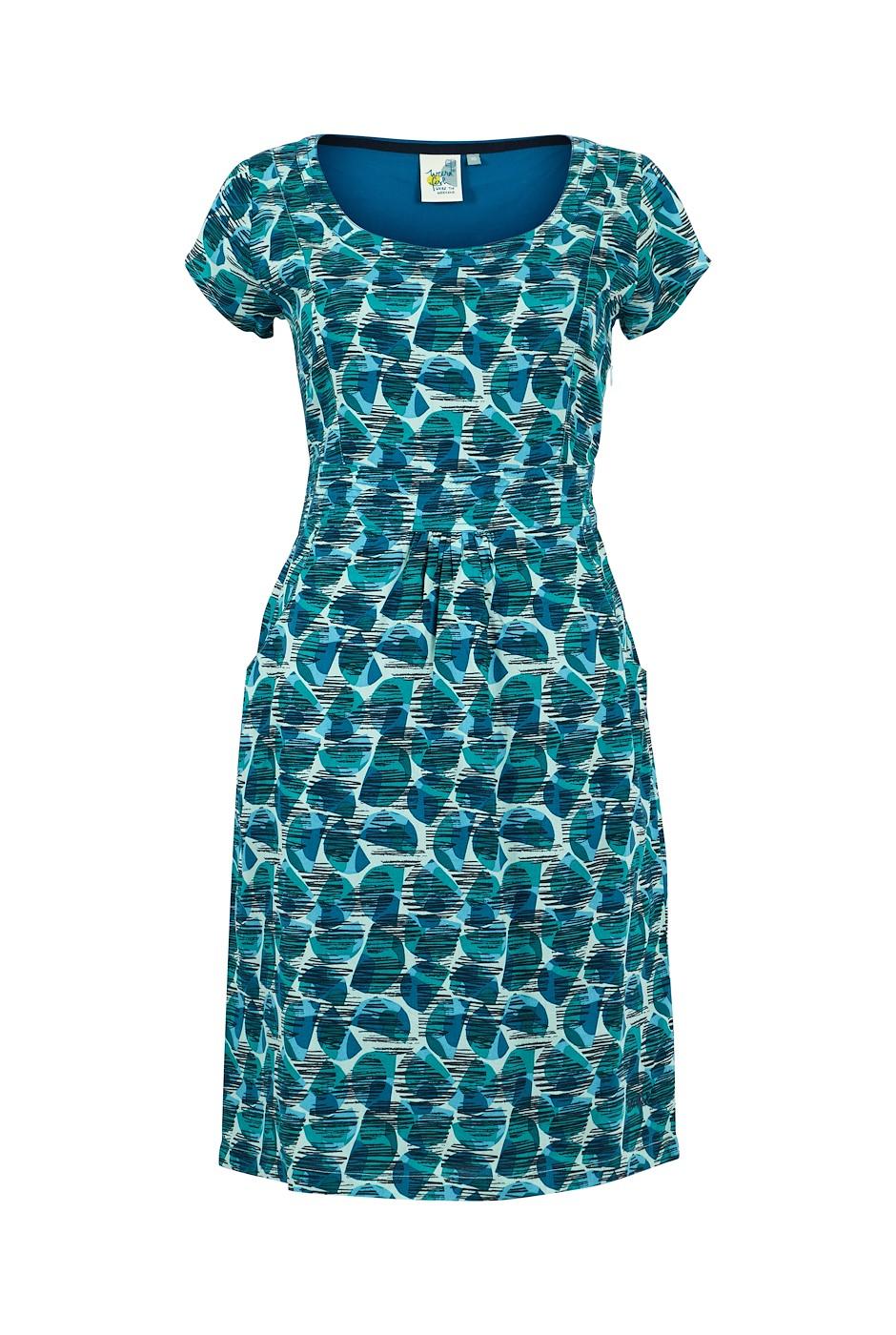 Satso Printed Viscose Dress Bottle Green
