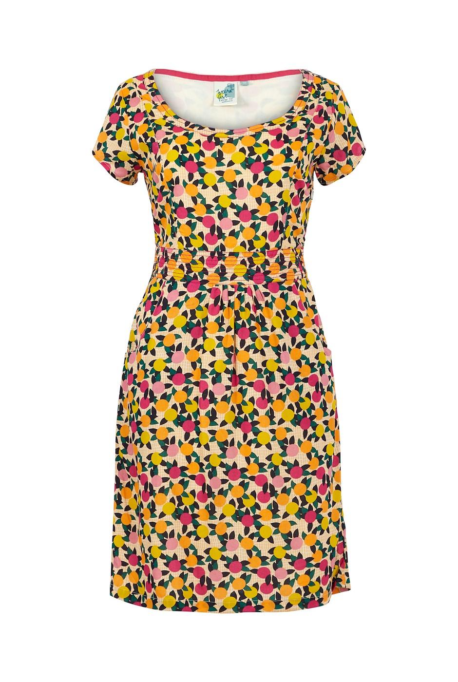 Satso Printed Viscose Dress Apricot
