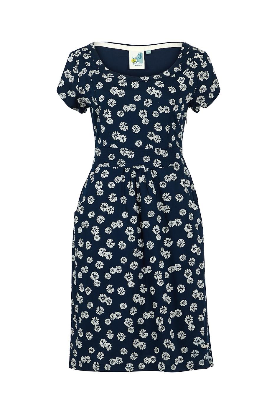 Satso Printed Viscose Dress Navy