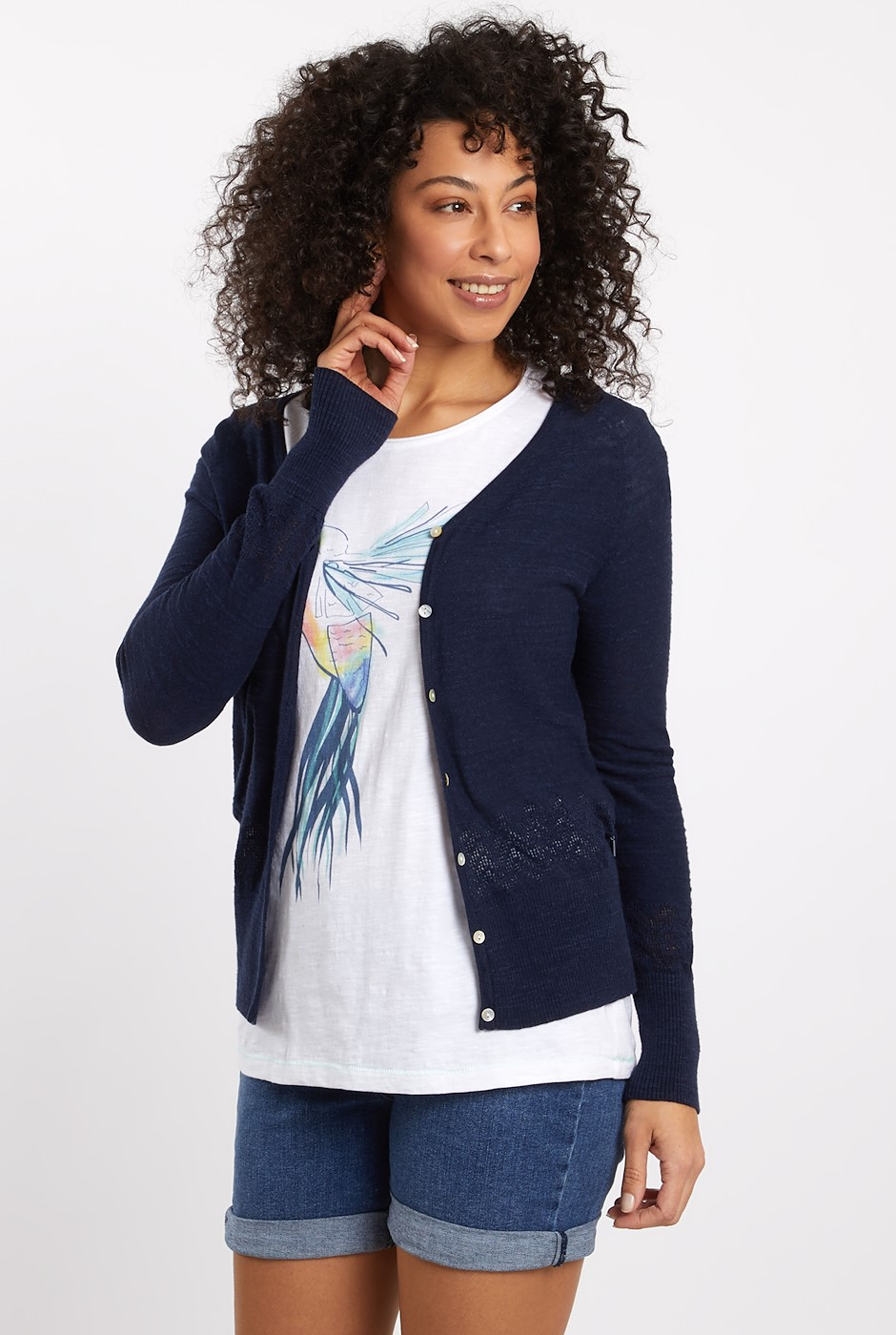 Curran Organic Cotton Lightweight Cardigan Dark Denim