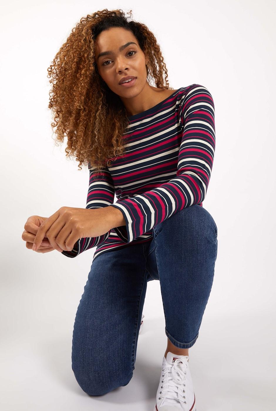 Cecilia Organic Cotton Stripe T-Shirt Navy