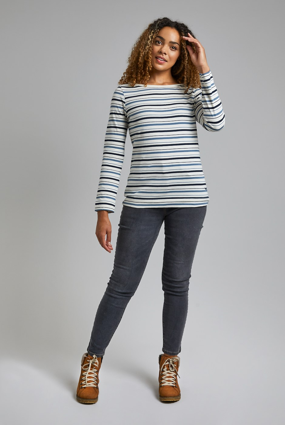 Cecilia Organic Cotton Stripe T-Shirt Light Cream