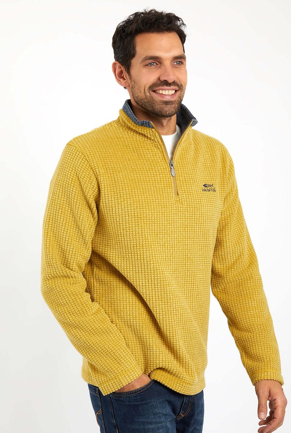 Newark 1/4 Zip Grid Fleece Mustard