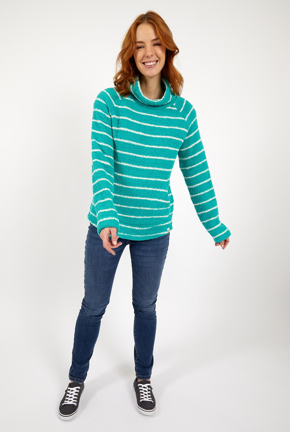 Sarno Stripe Feather Fleece Light Teal