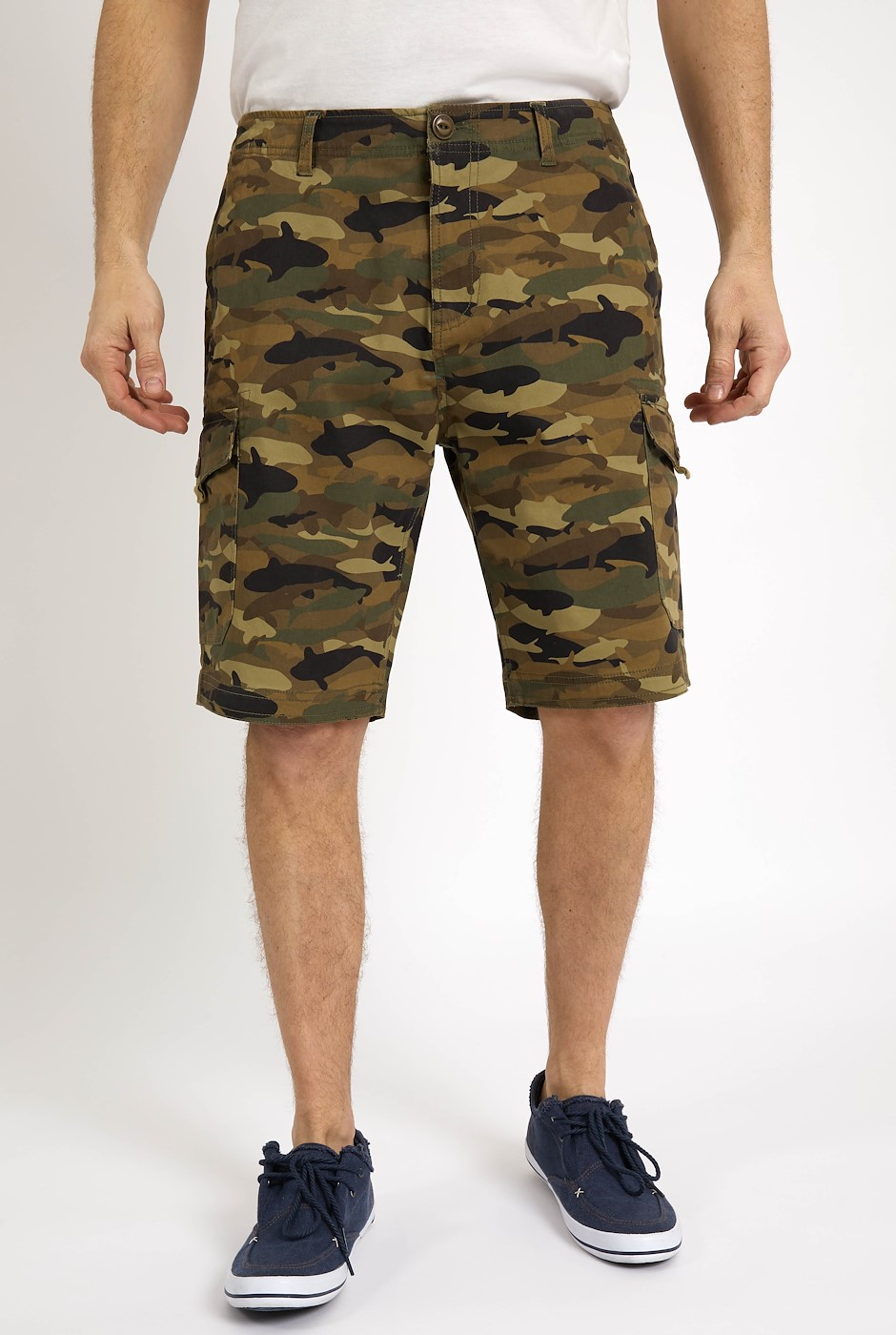 Portland Organic Cotton Printed Shorts Dark Olive