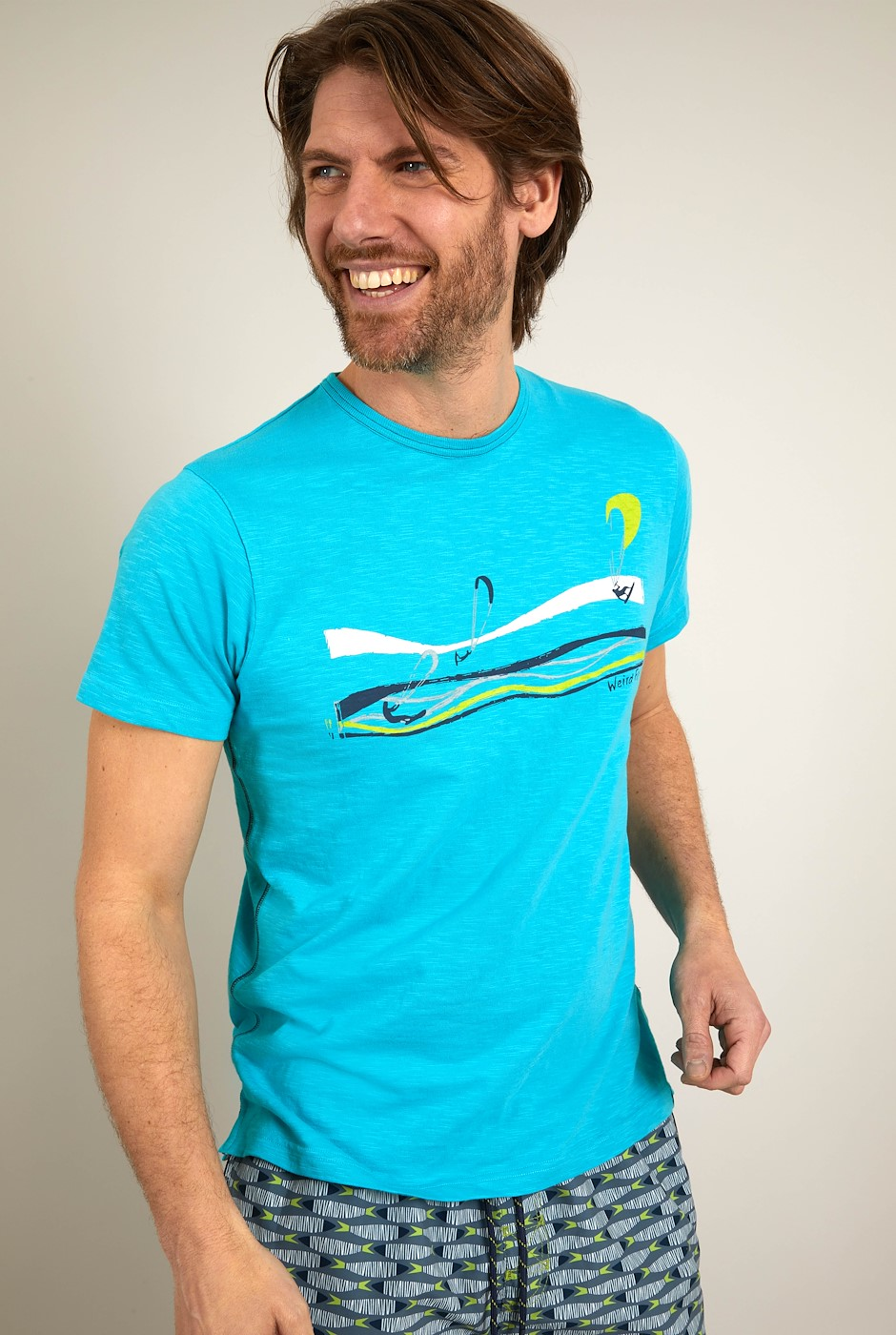 Kitesurfers Organic Cotton Graphic T-Shirt Turquoise