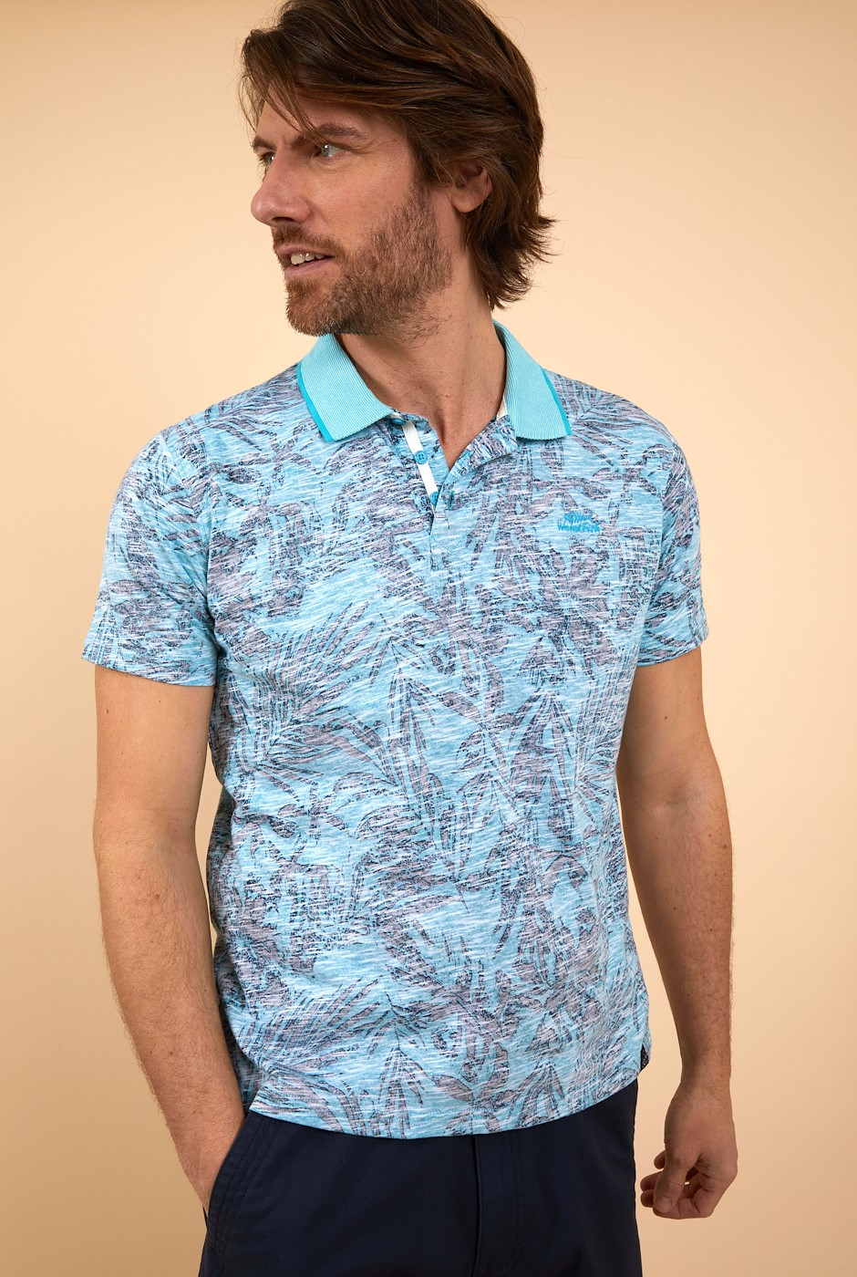 Finley Organic Cotton Printed Polo Turquoise