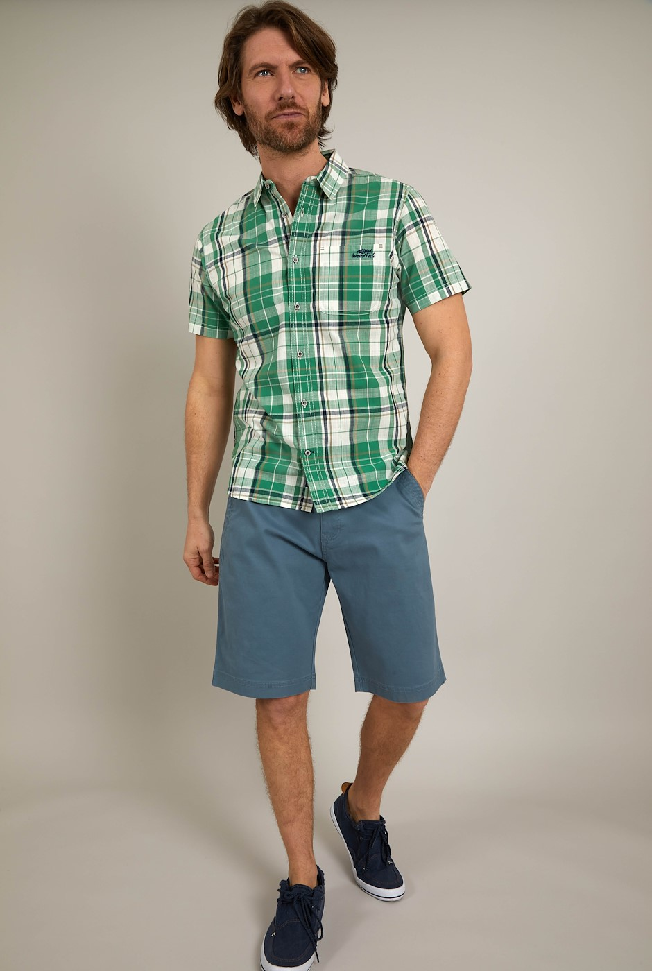 Ennis Short Sleeve Check Shirt Frosty Spruce