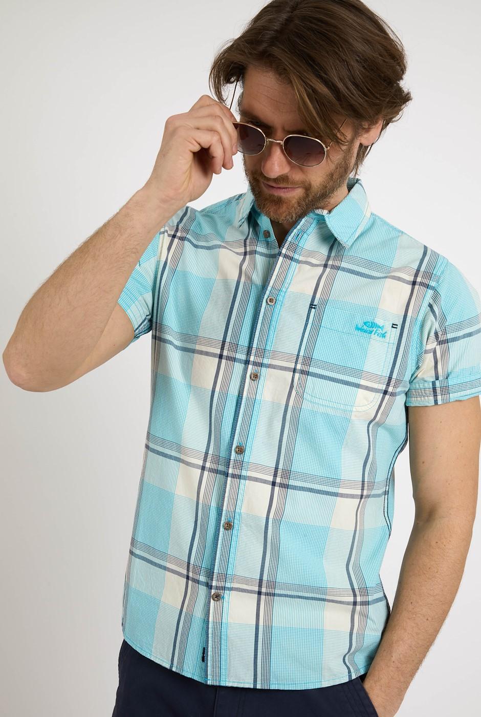 Barak Short Sleeve Check Shirt Turquoise