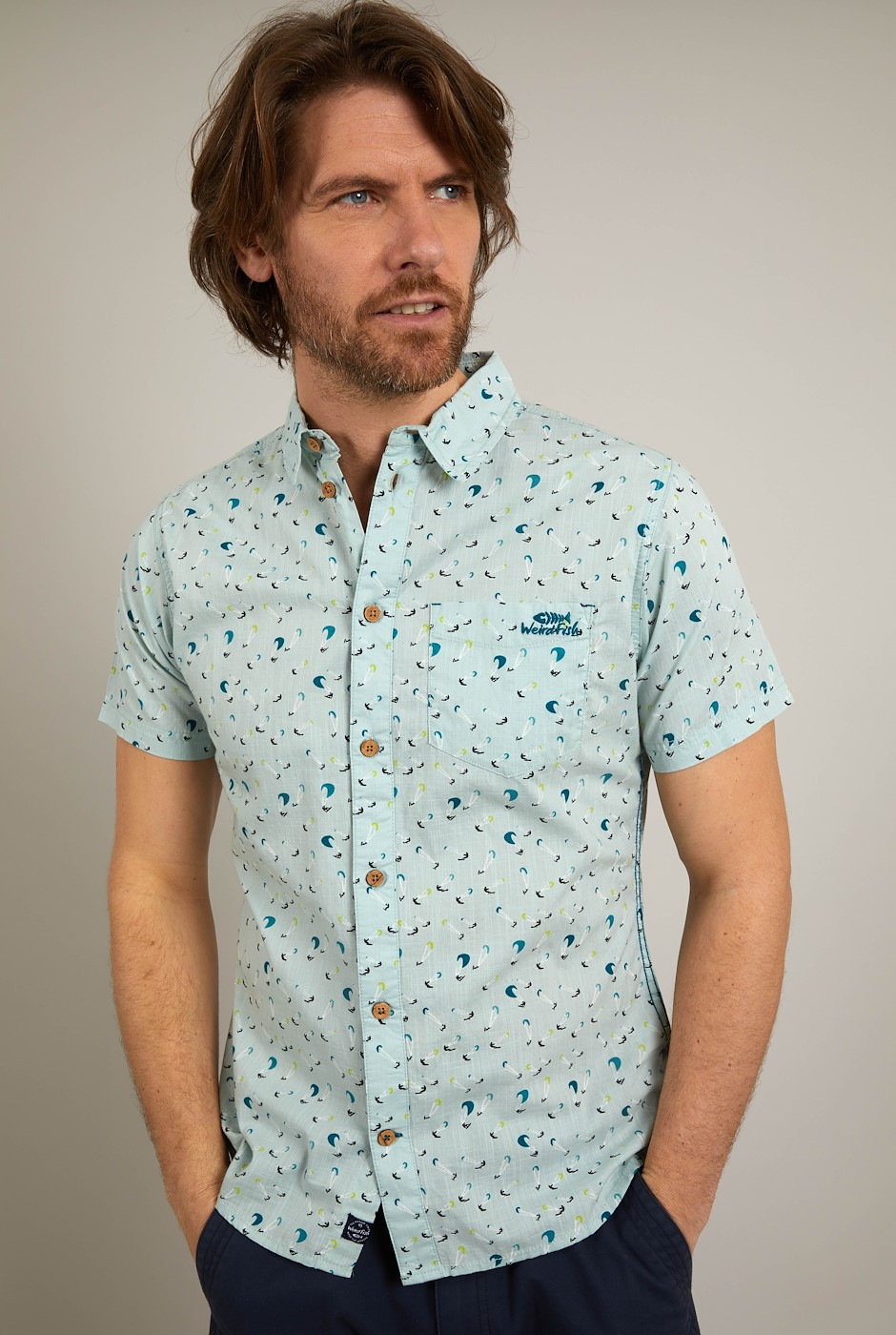 Gillespie Organic Cotton Printed Shirt Aqua