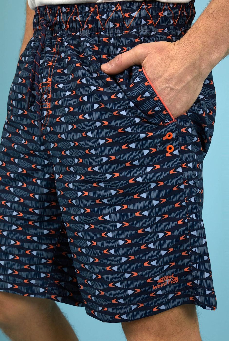 Fishbone Printed Board Shorts Navy