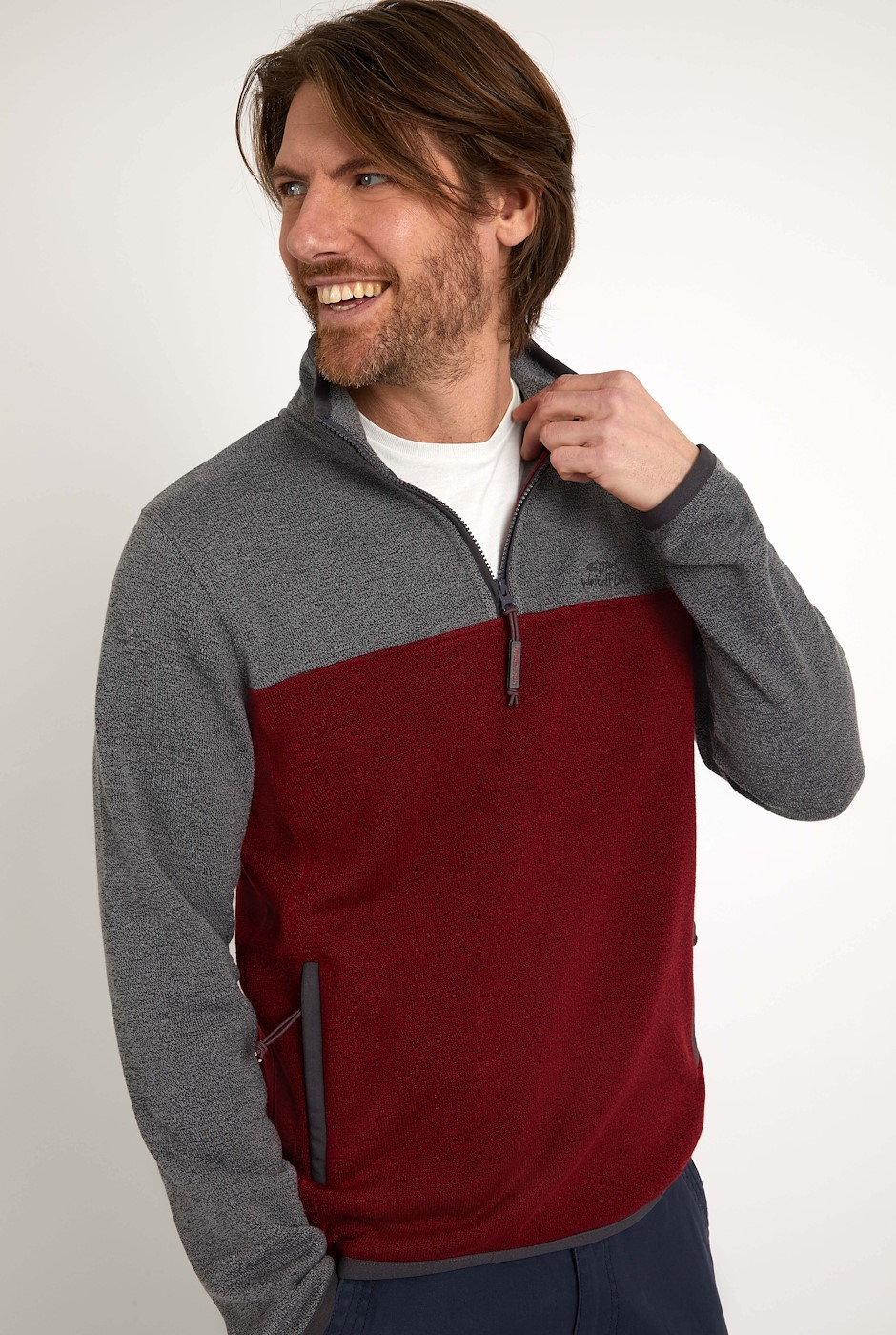 Berrick 1/4 Zip Colour Block Soft Knit  Chilli Pepper