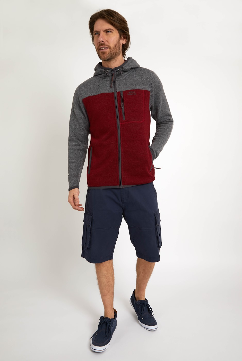 Driscoll Colour Block Soft Knit Hoodie Chilli Pepper